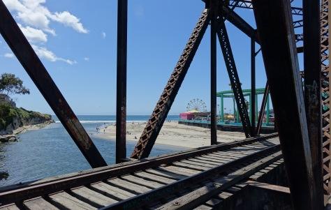 View of boardwalk from train trestle